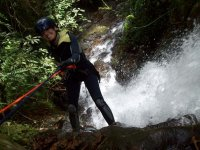Rappel in canyon