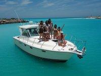 Disfrutando del barco en Yucatan
