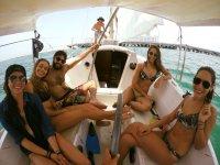 Boat passengers in Yucatan