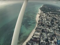 Flying over the beach