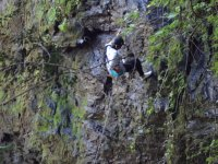 Rappelling in natural rock