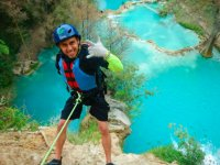 Practice rappel with spectacular landscapes in the background