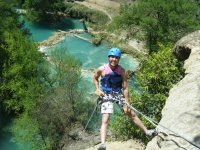 Rappel 50 mts in the waterfall of Minas Viejas