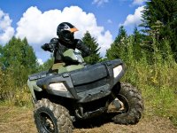 Turning the ATV in the curve
