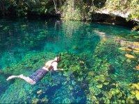 Snorkel in cenote in Tankah Park