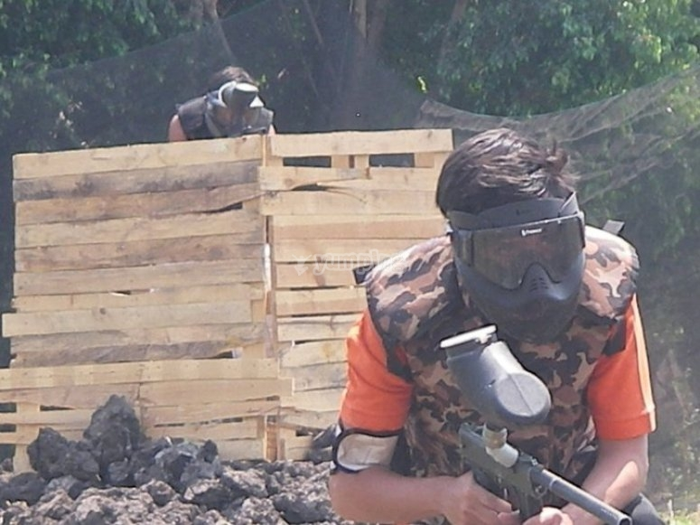 Playing paintball