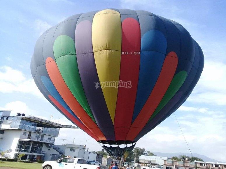 Hot air balloon prepared for flight