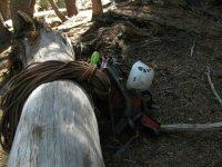 Climbing equipment in nature