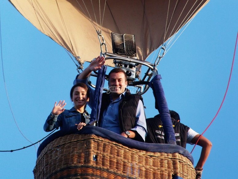 In the balloon basket while flying through San Miguel de Allende