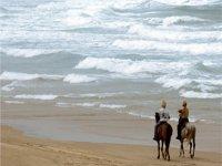 Horseback riding through the sand
