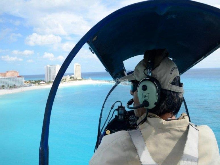 Fly over the Caribbean Sea