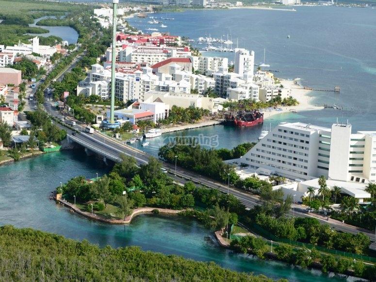 The hotel zone in Cancun