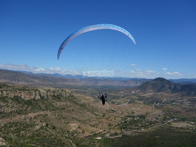 Enjoying the paragliding heights