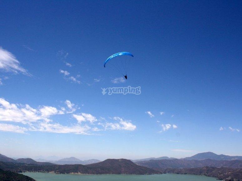 Paragliding in full flight