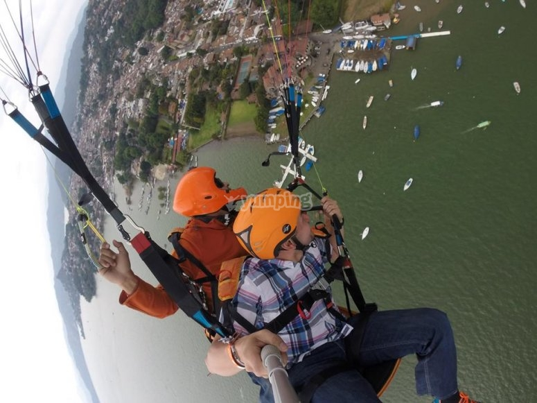 tandem paragliding flight with instructor