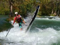paddling in river
