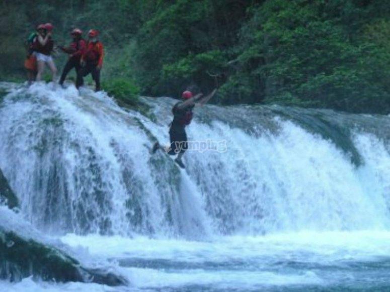 Enjoying the adrenaline in waterfalls