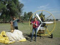 Ready to fly in paramotor