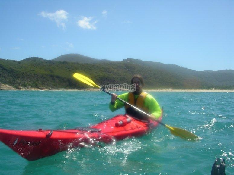 Boy equipped to kayak