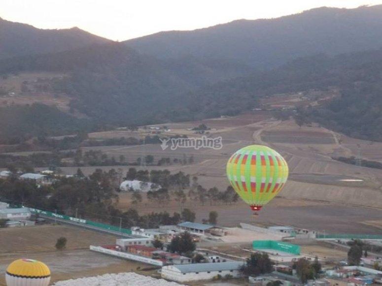 Volando en globo sobre Huasca de Ocampo