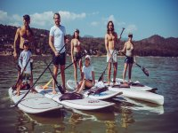 Paddle surfing in family
