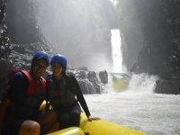 Rafting and waterfall