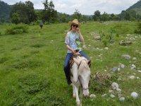 Enjoying the horse ride