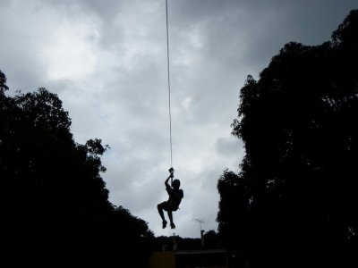 100 meters zip-line in Actopan