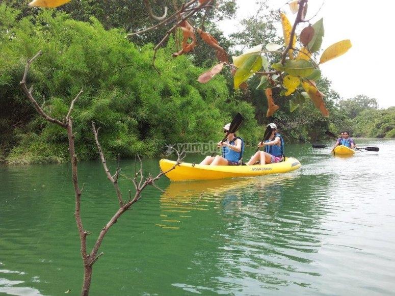Kayaks en rapidos
