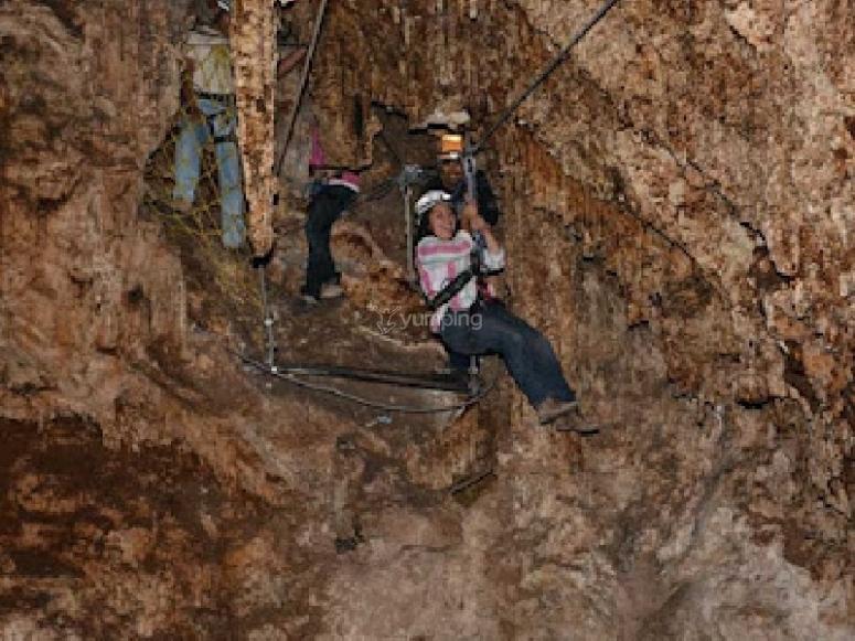Zipline inside the caves