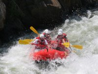 Working as a team on rafting