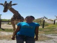 With a giraffe