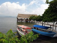 Boats in the catemaco lagoon