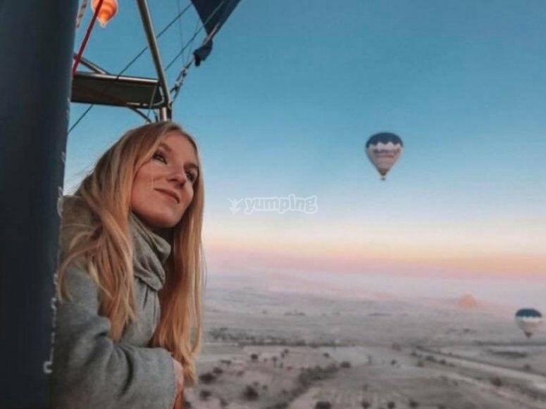 Admiring the landscape in a balloon