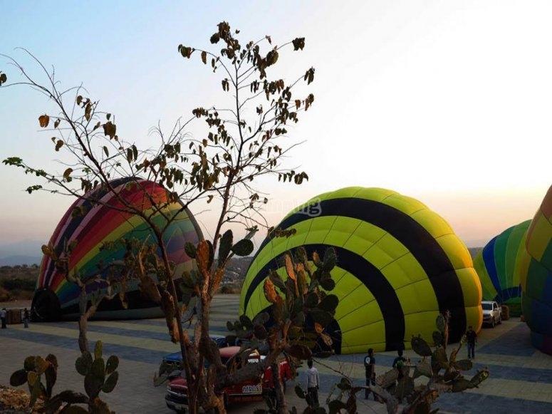 Inflando los globos