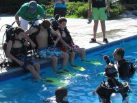 Taking lessons in the pool