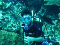 Practica de buceo en el mar