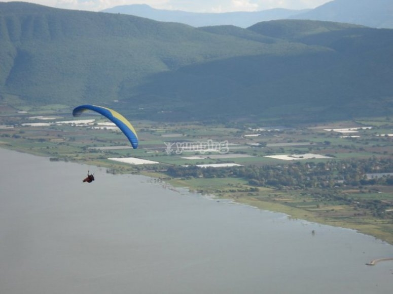 Flying over the lake