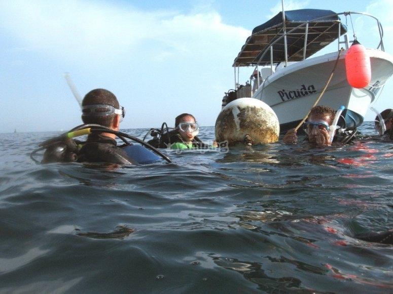 Buceo en Veracruz, el bote listo para recibirnos