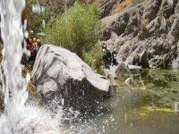 Walking through waterfalls