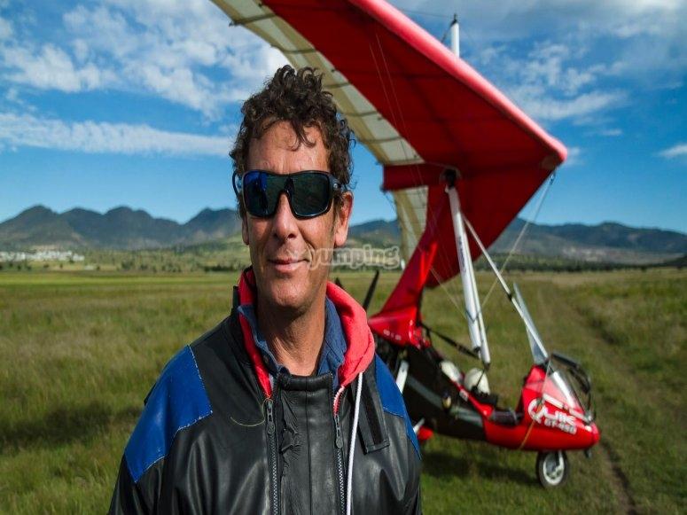 Pilot in a ultralight aircraft