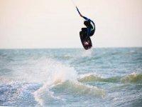 Kitesurfing stunts in progress