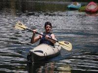 Rowing the kayak