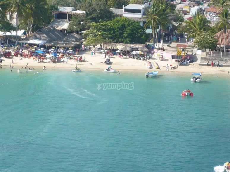 Panoramic view of Huatulco Beach