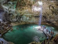 Cenote with entrance of light