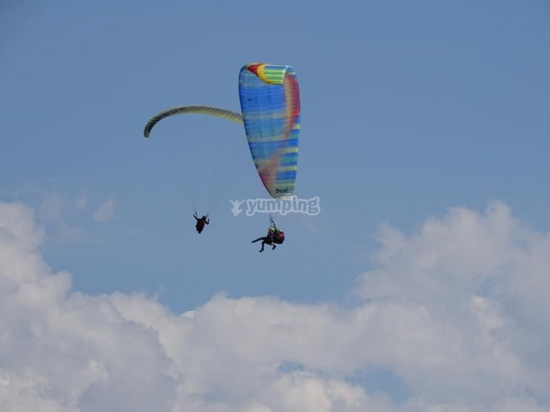 Enjoying the tandem paragliding