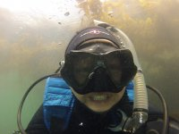 Happy child diving
