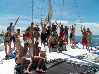 Catamaran tour + snorkel to Isla Mujeres