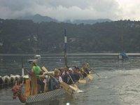 Rowing in canoe