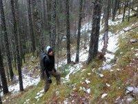 Climbing through the snow